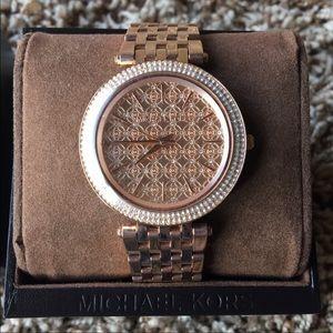 Michael Kors Darci Rose Gold Tone Pave Watch